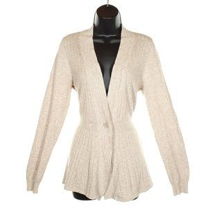 CYRUS Ribbed Knit Cardigan Beige Fitted